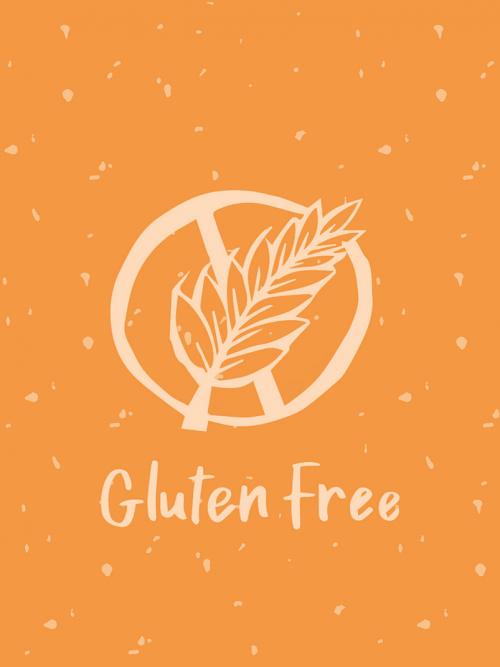 orange gluten free logo with speckled dots.